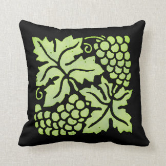 Green Grapes on Black Throw Pillow