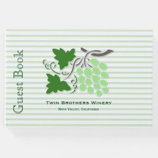 Green Grapes on Stripes Wine Theme Guest Book