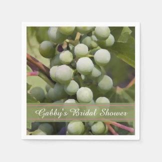 Green Grapes Vineyard Bridal Shower Disposable Napkins