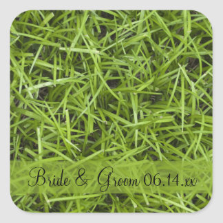 Green Grass Backyard Wedding Envelope Seals Square Sticker