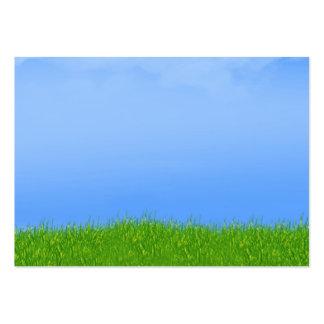 Green Grass & Blue Sky Background Business Card Templates