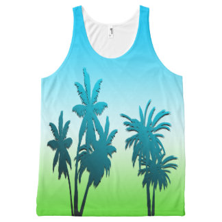 Green Grass Blue Sky Paradise Beach Palm Tree All-Over Print Singlet