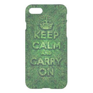Green grass keep calm and carry on iPhone 7 case