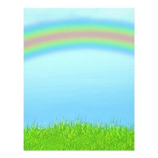 Green Grass, Rainbow & Blue Sky Background 21.5 Cm X 28 Cm Flyer
