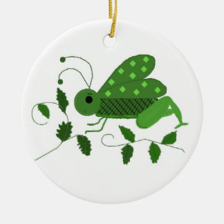 Green Grasshopper Ceramic Ornament