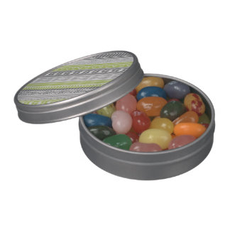 Green Gray Abstract Aztec Tribal Print Pattern Jelly Belly Candy Tin