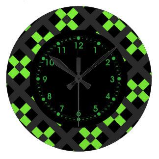 Green, Gray And Black Geometric Large Clock