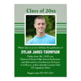 Green, Gray, and White Photo Graduation Invitation