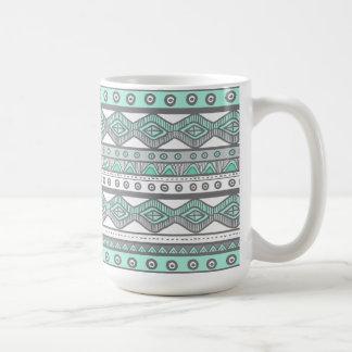 Green Gray Aztec Stylish Modern Trendy Coffee Mug