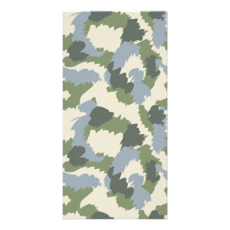 Green Gray Brown Camouflage Personalised Photo Card
