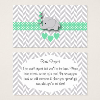 Green Gray Elephant Baby Shower Book Request Business Card