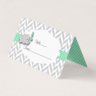 Green & Gray Elephant Baby Shower   Place Cards