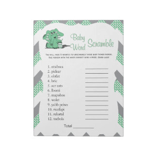 Green & Gray  Elephant Baby Shower Word Game 2 Notepad