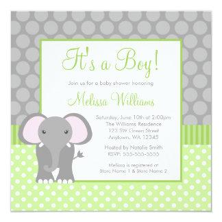 Green Gray Elephant Polka Dot Boy Baby Shower 13 Cm X 13 Cm Square Invitation Card