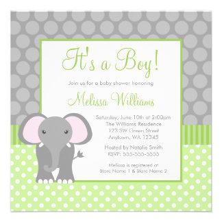 Green Gray Elephant Polka Dot Boy Baby Shower Custom Invite