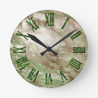 Green Gray Gold Bronze Mint Minimal Black Round Clock