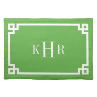 Green Greek Key Border Custom Monogram Placemat
