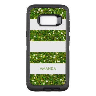 GREEN GREENERY Glitter white Stripe add your name OtterBox Defender Samsung Galaxy S8+ Case