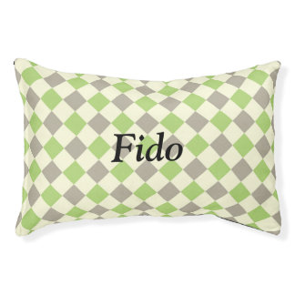 Green, Grey, and White Argyle Dog Bed