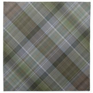 Green grey brown plaid pattern napkin