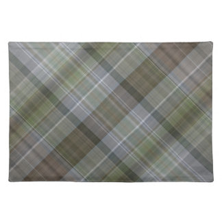 Green grey brown plaid pattern placemat