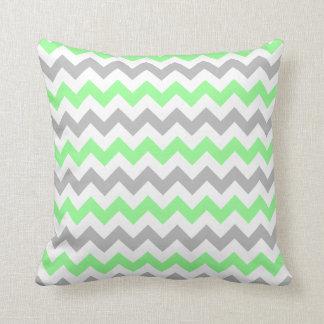 Green & Grey Chevron Square Pillow