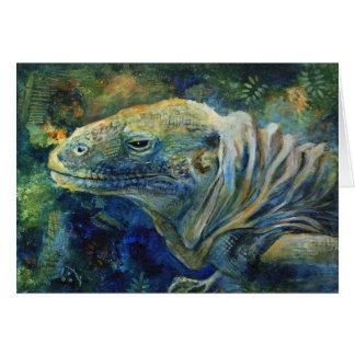"""Green Grotto Iguana"" greeting card"