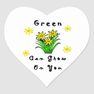 Green Grows On You Heart Sticker