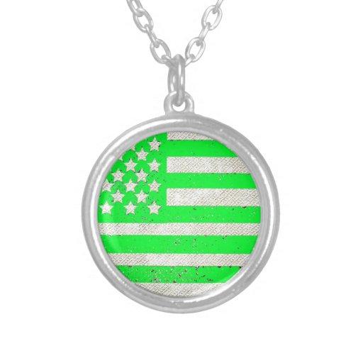 Green grunge American flag Pendant