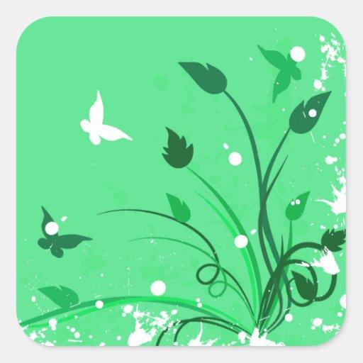Green Grunge Butterfly Stickers