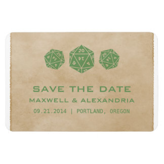 Green Grunge D20 Dice Gamer Save the Date Magnet