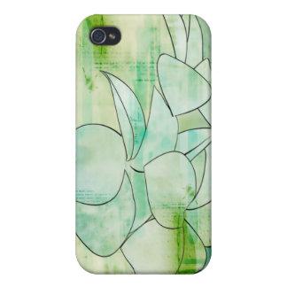 Green Grunge Flower Speaker Case For iPhone 4
