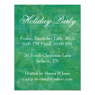 "Green Grunge Holiday Party Invites 4.25"" X 5.5"" Invitation Card"