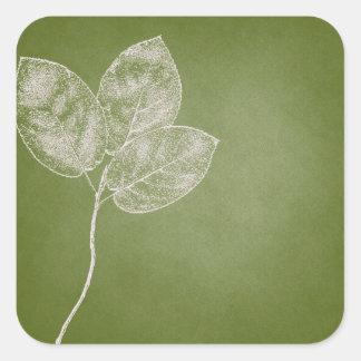 Green Grunge Leaves Square Sticker