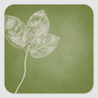 Green Grunge Leaves Square Sticker