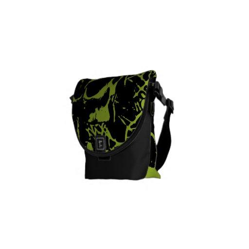 Green Grunge Skulls Courier Bags