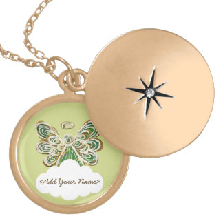 Green Guardian Angel Series Cloud Custom Locket