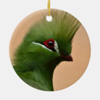 Green Guinea Turaco bird Ceramic Ornament