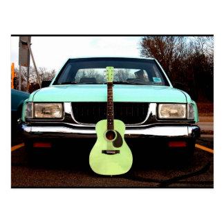 Green Guitar & Car Postcard