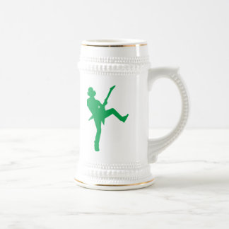 Green Guitar Player Silhouette Beer Stein