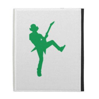 Green Guitar Player Silhouette iPad Cases