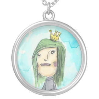 Green Hair Princess Neckless Round Pendant Necklace