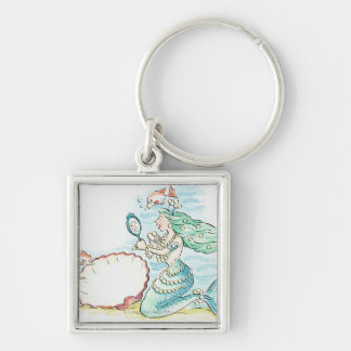 Green-haired mermaid wearing large selection of keychains