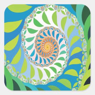 Green Half Moon Spiral Fractal Square Sticker