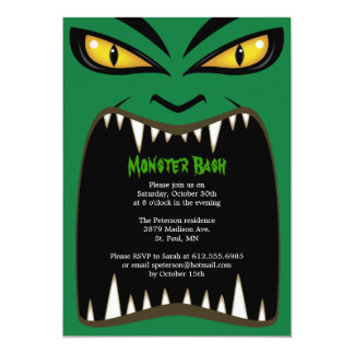 Green Halloween Monster Bash Invitation