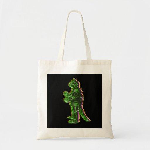 Green Halloween Monster Tshirt Tote Bag