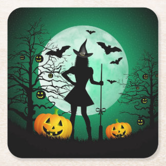 Green Halloween Paper Coaster Square Paper Coaster