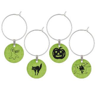 Green Halloween Set - Witch, Ghost, Cat,  Pumpkin Wine Charm