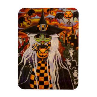 Green Halloween Witch Girl Cat Pumpkins, Ghosts Rectangular Photo Magnet