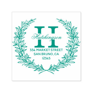 Green Hand-drawn Floral Wreath | Return Address Self-inking Stamp